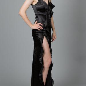 Silky Ruffle Maxi Dress, Black